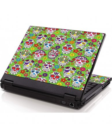 Green Sugar Skulls Dell 1320 Laptop Skin
