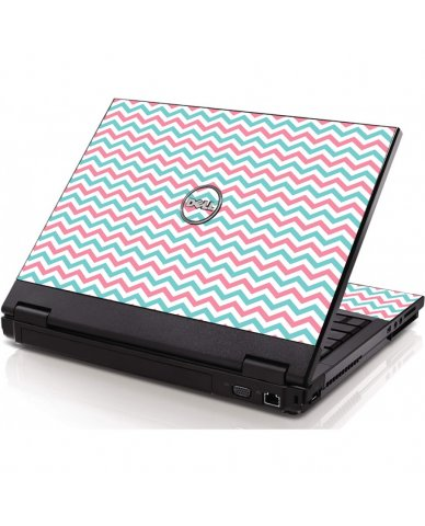 Pink Teal Chevron Waves Dell 1320 Laptop Skin