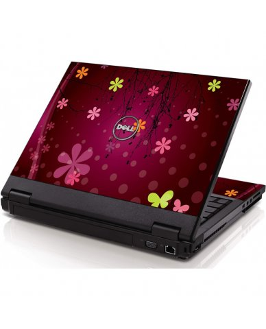Retro Pink Flowers Dell 1320 Laptop Skin