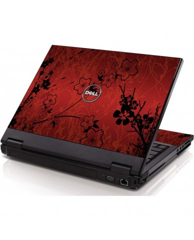 Retro Red Flowers Dell 1320 Laptop Skin