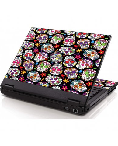 Sugar Skulls Black Flowers Dell 1320 Laptop Skin