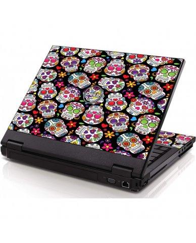 Sugar Skulls Black Flowers Dell 1320 Laptop Skin