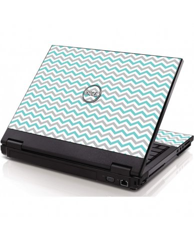 Teal Grey Chevron Waves Dell 1320 Laptop Skin