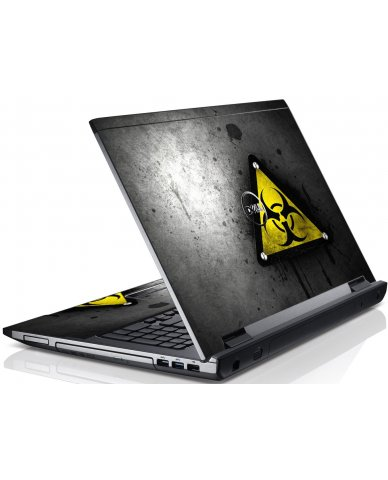 Black Caution Dell V3550 Laptop Skin