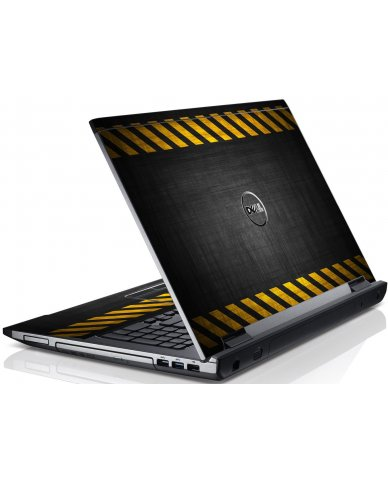 Black Caution Border Dell V3550 Laptop Skin