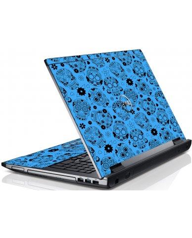 Crazy Blue Sugar Skulls Dell V3550 Laptop Skin