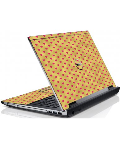 Gold Pink Hearts Dell V3550 Laptop Skin
