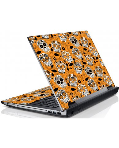 Orange Sugar Skulls Dell V3550 Laptop Skin
