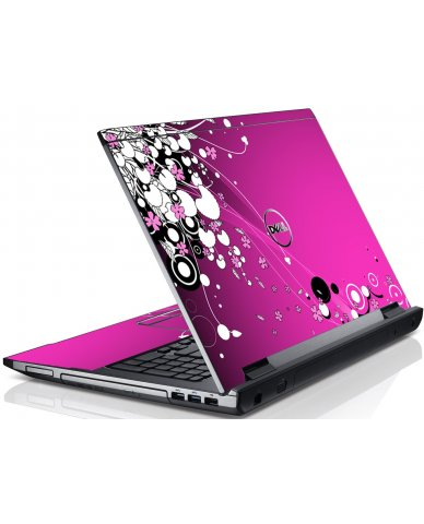 Pink Flowers Dell V3550 Laptop Skin