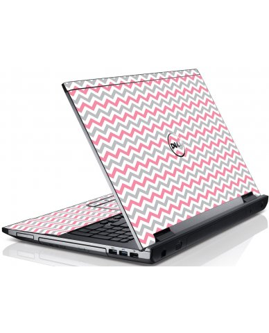 Pink Grey Chevron Waves Dell V3550 Laptop Skin