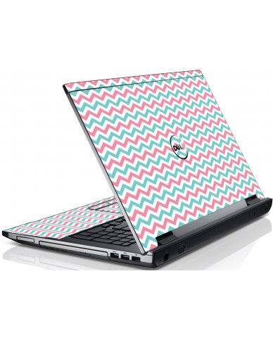 Pink Teal Chevron Waves Dell V3550 Laptop Skin