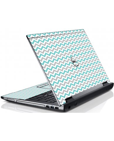 Teal Grey Chevron Wave Dell V3550 Laptop Skin
