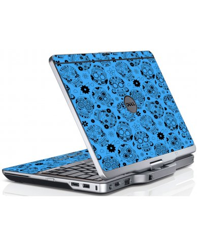 Crazy Blue Sugar Skulls Dell XT3 Laptop Skin
