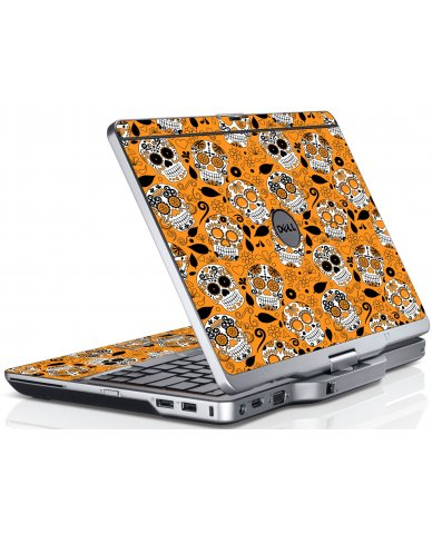Orange Sugar Skulls Dell XT3 Laptop Skin