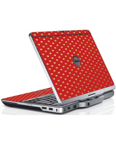 Red Gold Hearts Dell XT3 Laptop Skin