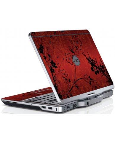 Retro Red Flowers Dell XT3 Laptop Skin