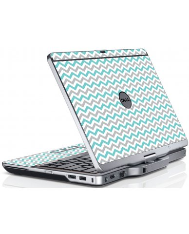 Teal Grey Chevron Wave Dell XT3 Laptop Skin