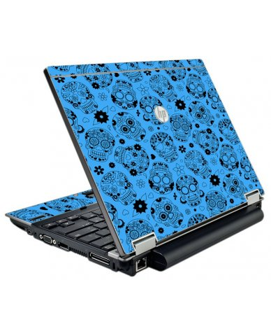 Crazy Blue Sugar Skulls HP EliteBook 2540P Laptop Skin