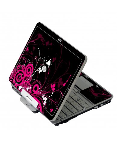 Black Pink Butterfly HP 2760P Laptop Skin