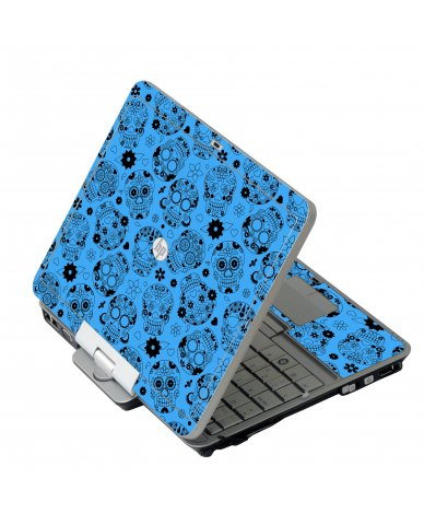 Crazy Blue Sugar Skulls HP 2760P Laptop Skin