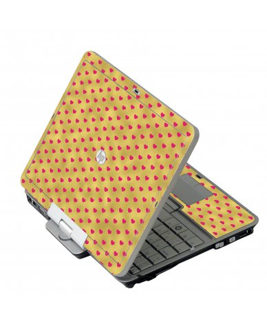 Gold Pink Hearts HP 2760P Laptop Skin