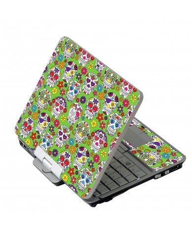 Green Sugar Skulls HP 2760P Laptop Skin