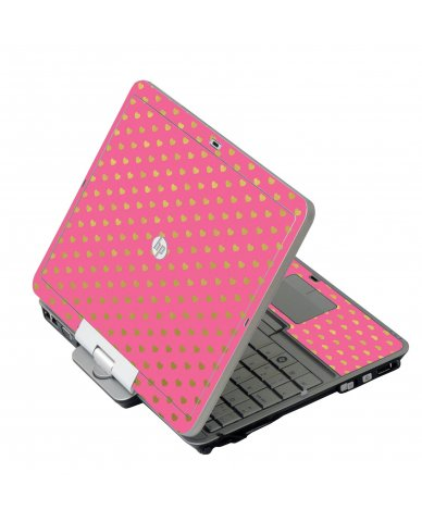 Pink With Gold Hearts HP 2760P Laptop Skin