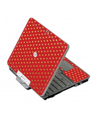 Red Gold Hearts HP 2760P Laptop Skin