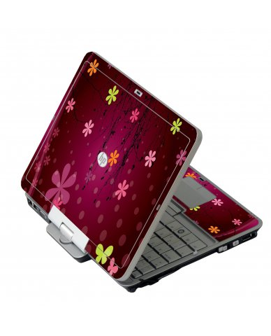 Retro Pink Flowers HP 2760P Laptop Skin