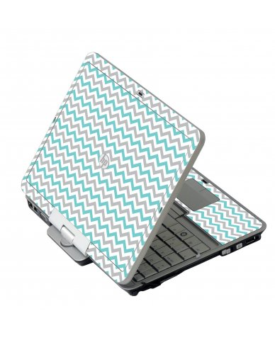 Teal Grey Chevron Waves HP 2760P Laptop Skin