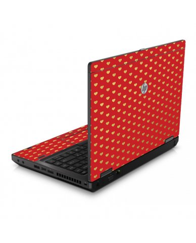 Red Gold Hearts 6460B Laptop Skin