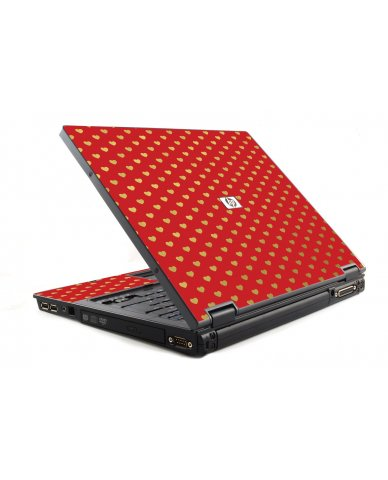 Red Gold Hearts 6510B Laptop Skin