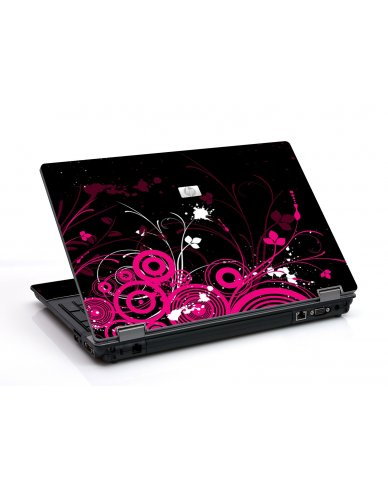 Black Pink Butterfly 6530B Laptop Skin