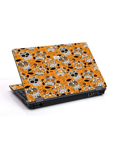 Orange Sugar Skulls 6530B Laptop Skin