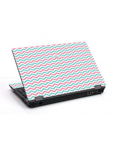 Pink Teal Chevron Waves 6530B Laptop Skin