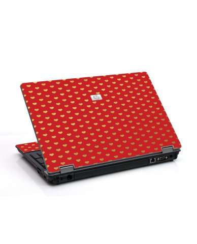 Red Gold Hearts 6530B Laptop Skin