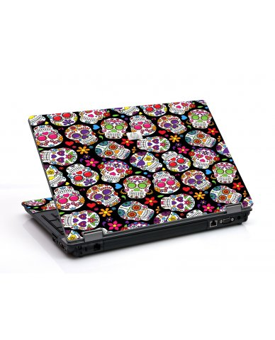 Sugar Skulls Black Flowers 6530B Laptop Skin