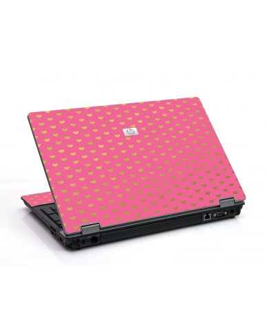 Pink With Gold Hearts 6550B Laptop Skin