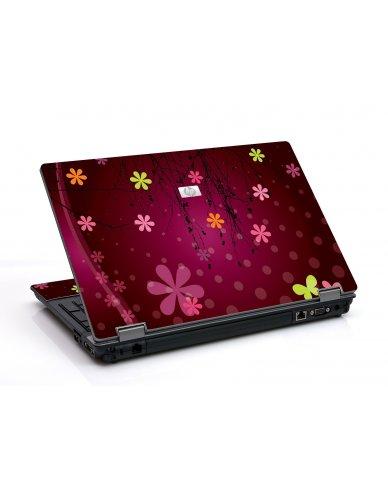 Retro Pink Flowers 6550B Laptop Skin