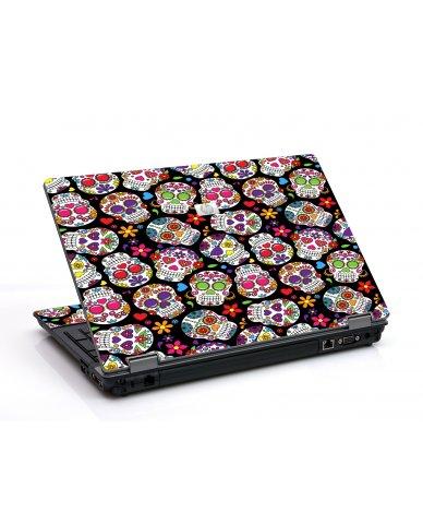 Sugar Skulls Black Flowers 6550B Laptop Skin