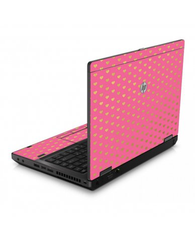 Pink With Gold Hearts 6560B Laptop Skin