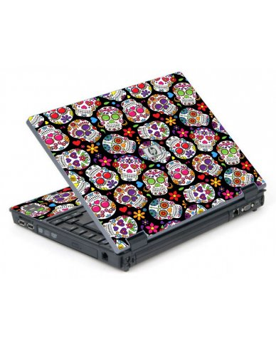 Sugar Skulls Black Flowers 6710B Laptop Skin