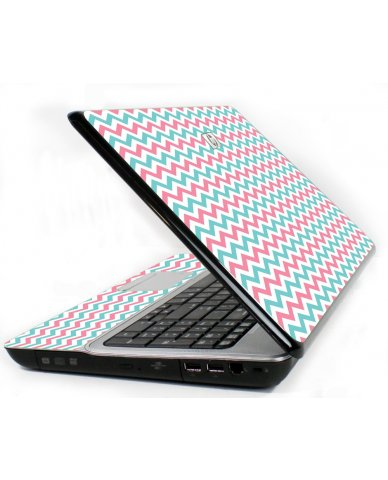 Pink Teal Chevron Waves 6730S Laptop Skin