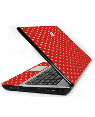 Red Gold Hearts 6730S Laptop Skin