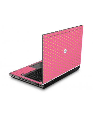 Pink With Gold Hearts HP8460P Laptop Skin
