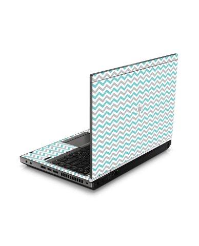 Teal Grey Chevron Waves HP8460P Laptop Skin
