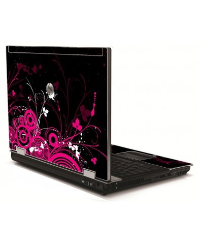 Black Pink Butterfly HP 8540W Laptop Skin