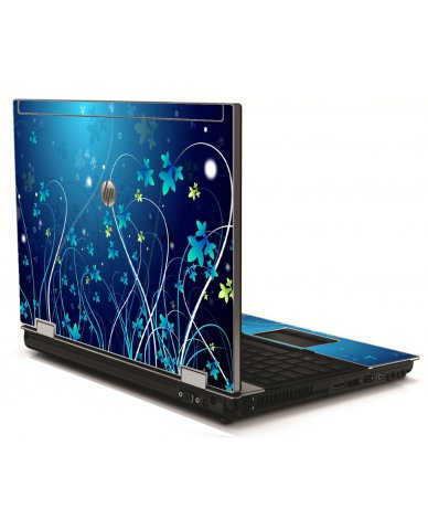 Blue Flowers HP 8540W Laptop Skin