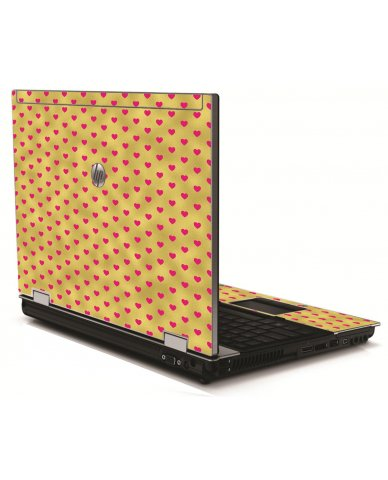 Gold Pink Hearts HP 8540W Laptop Skin