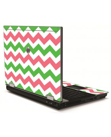 Green Pink Chevron HP 8540W Laptop Skin